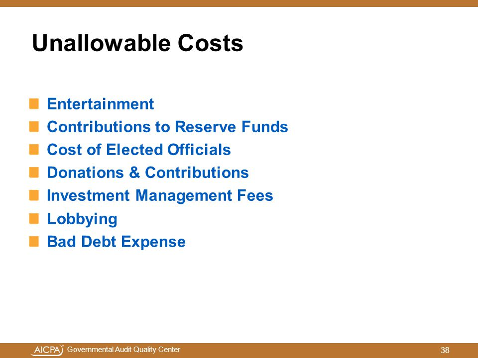 Unallowable Costs Entertainment Contributions to Reserve Funds