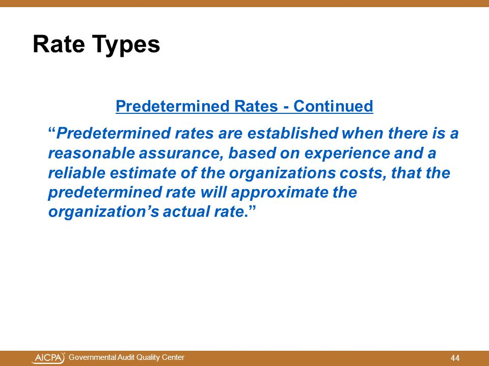 Predetermined Rates - Continued