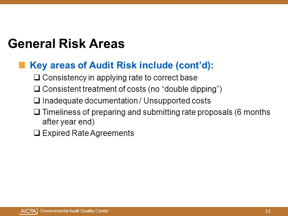 General Risk Areas Key areas of Audit Risk include (cont'd):