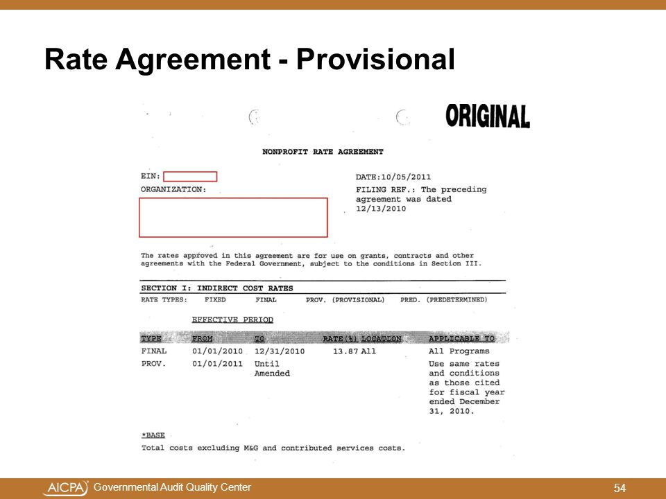 Rate Agreement - Provisional