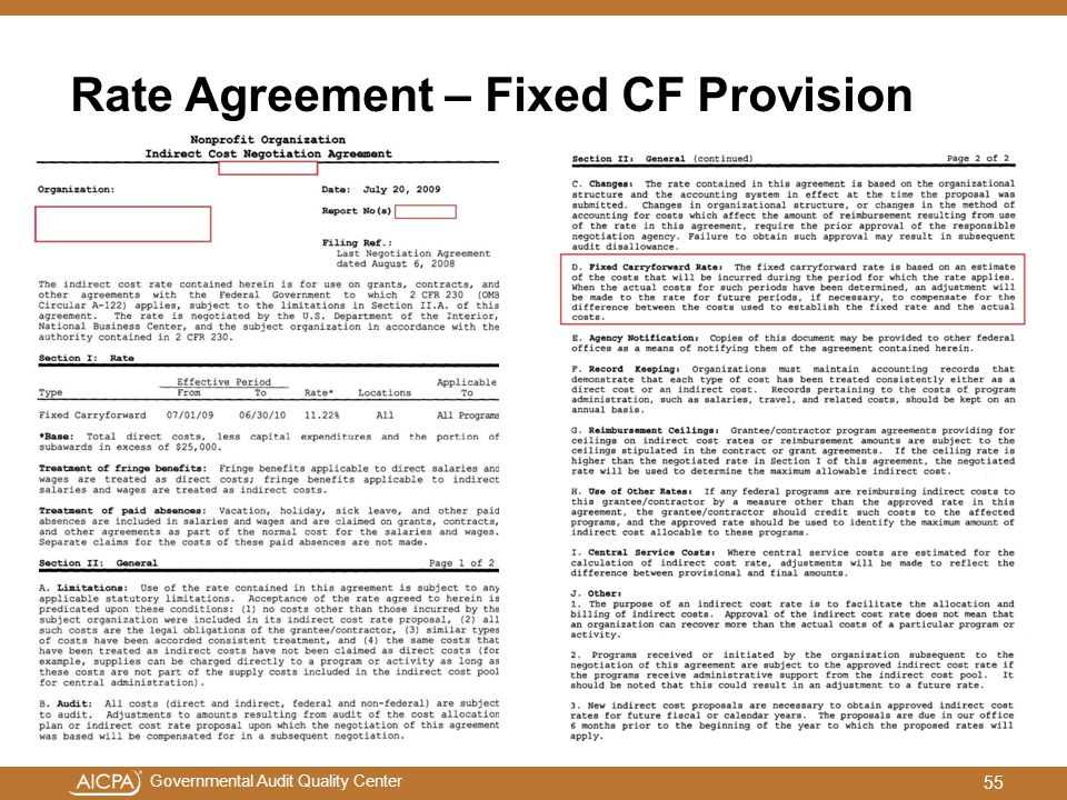 Rate Agreement – Fixed CF Provision