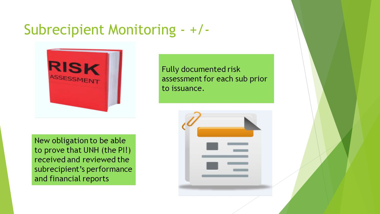 Subrecipient Monitoring ‐ +/‐