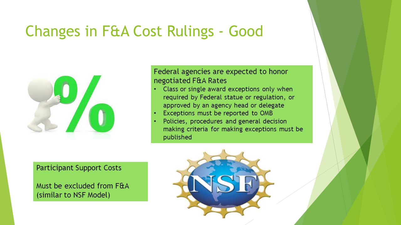 Changes in F&A Cost Rulings - Good