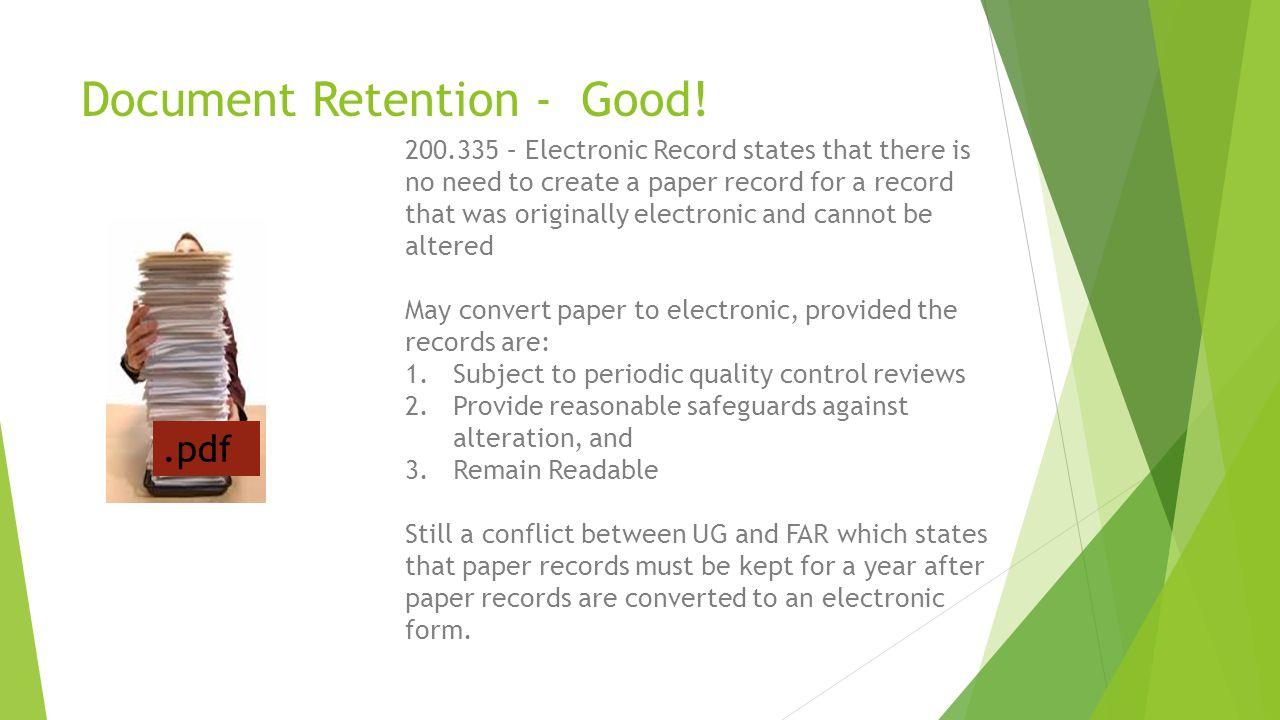 Document Retention - Good!