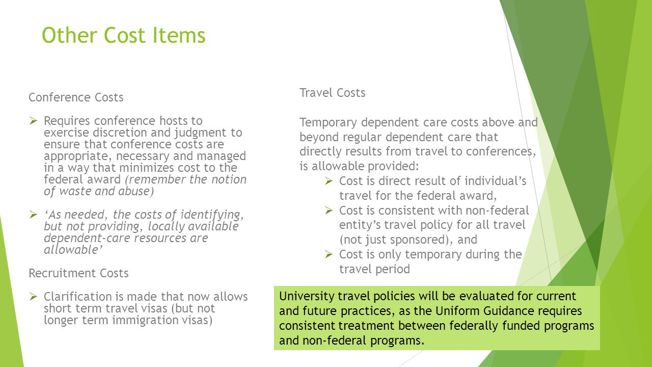 Other Cost Items Travel Costs Conference Costs
