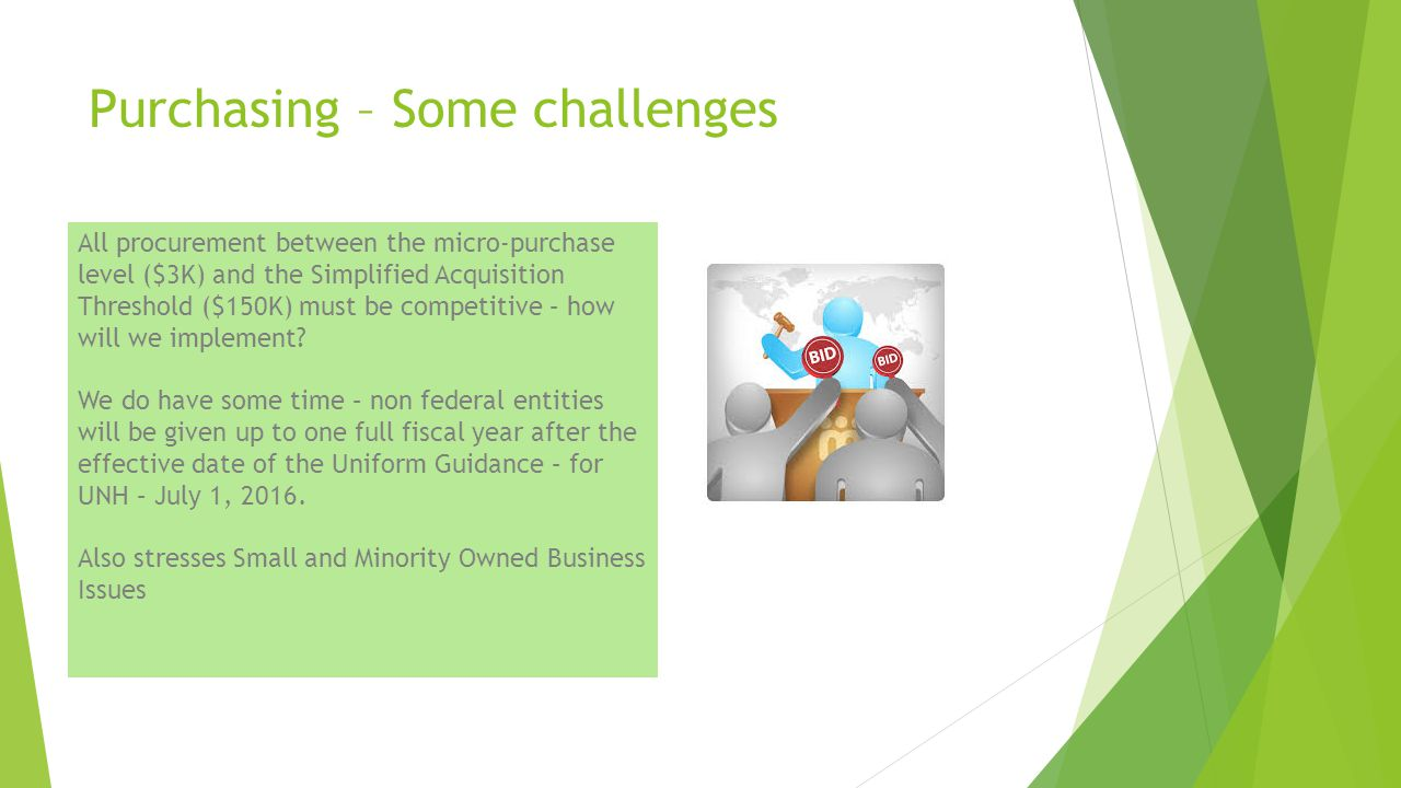 Purchasing – Some challenges