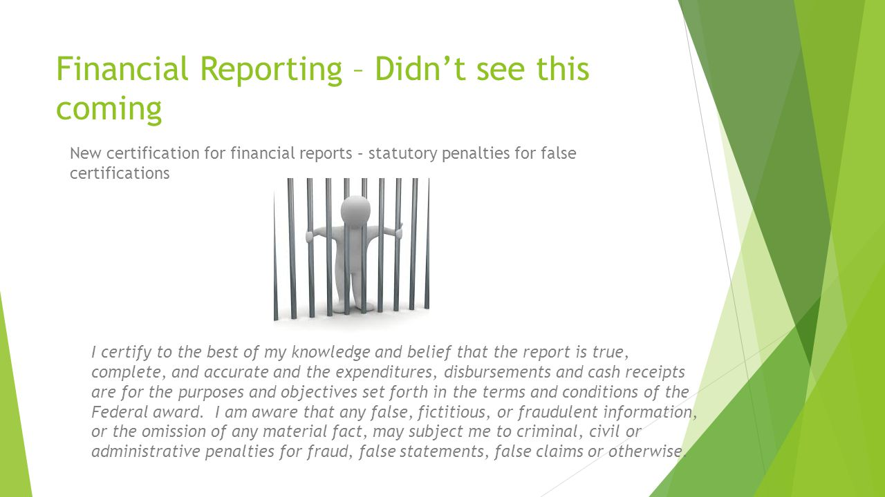 Financial Reporting – Didn't see this coming
