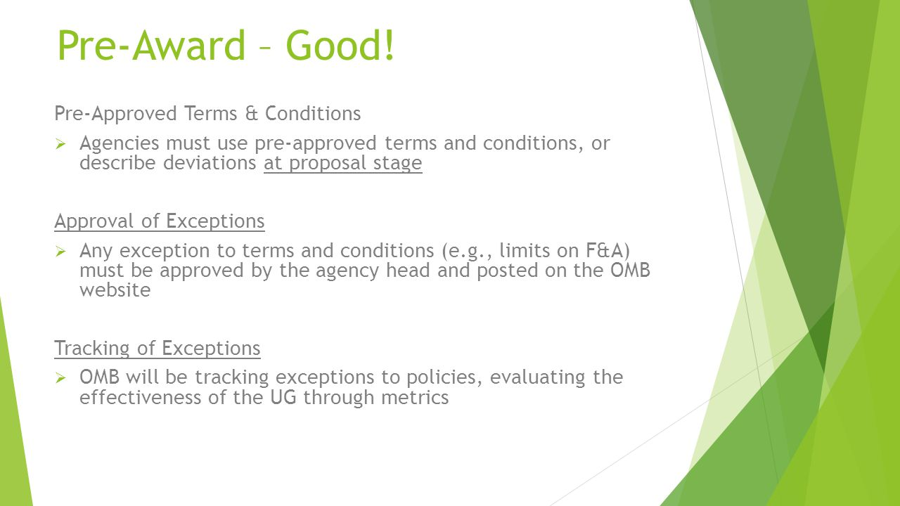 Pre-Award – Good! Pre-Approved Terms & Conditions