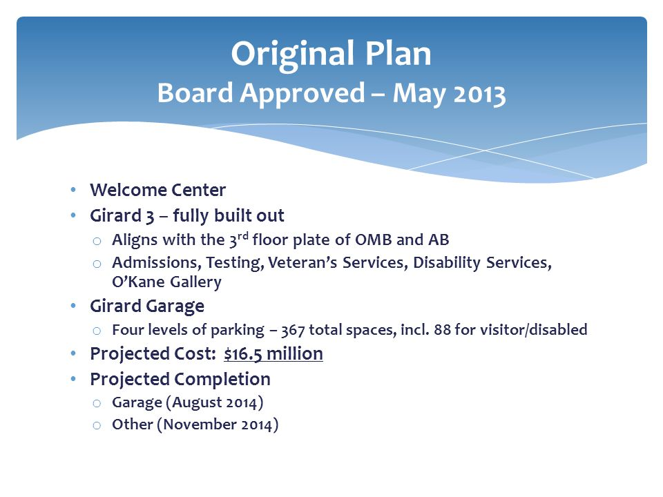 Original Plan Board Approved – May 2013