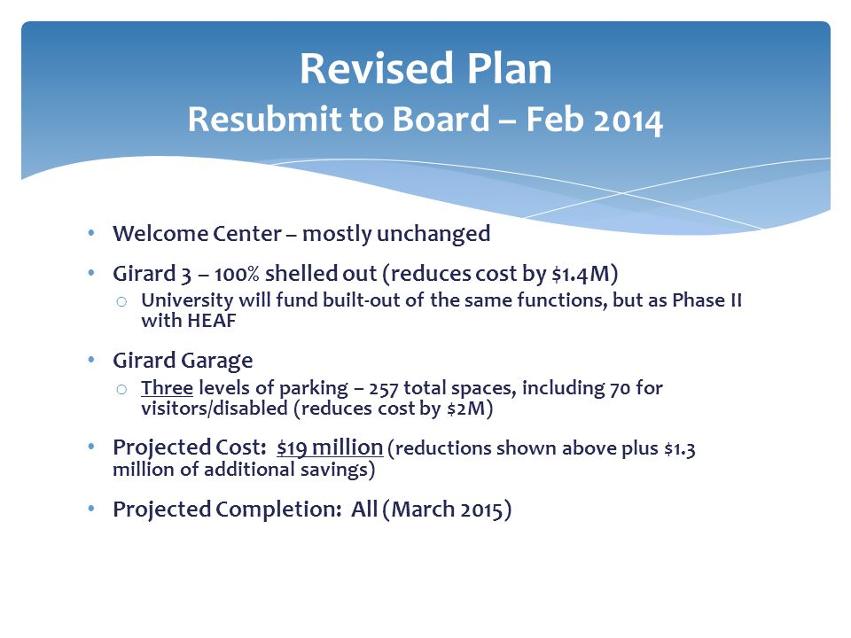 Revised Plan Resubmit to Board – Feb 2014