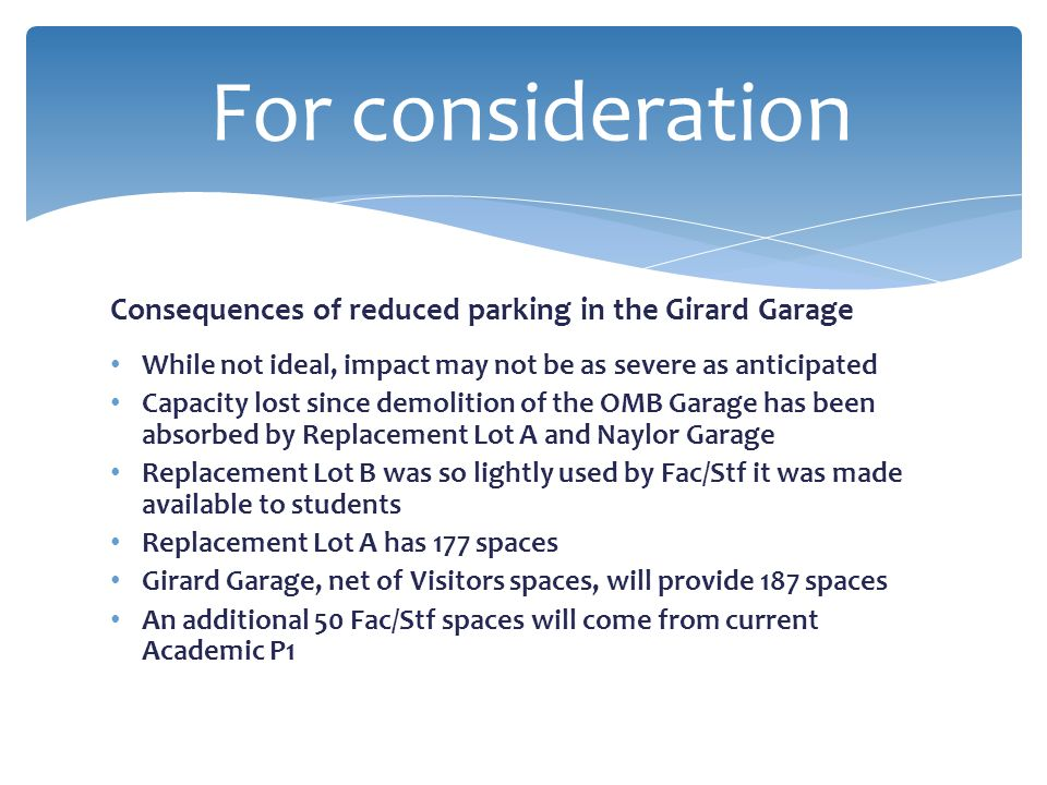 For consideration Consequences of reduced parking in the Girard Garage