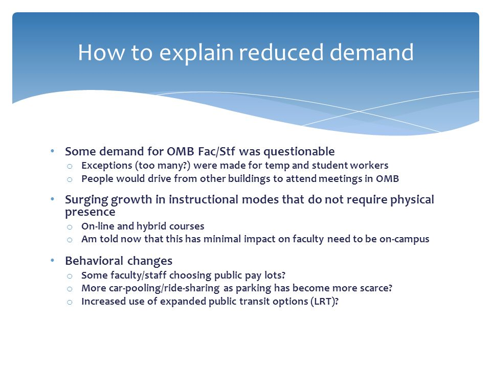 How to explain reduced demand