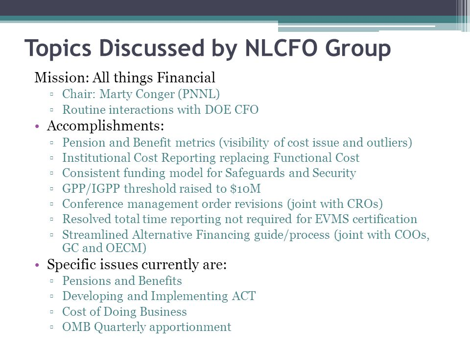 Topics Discussed by NLCFO Group