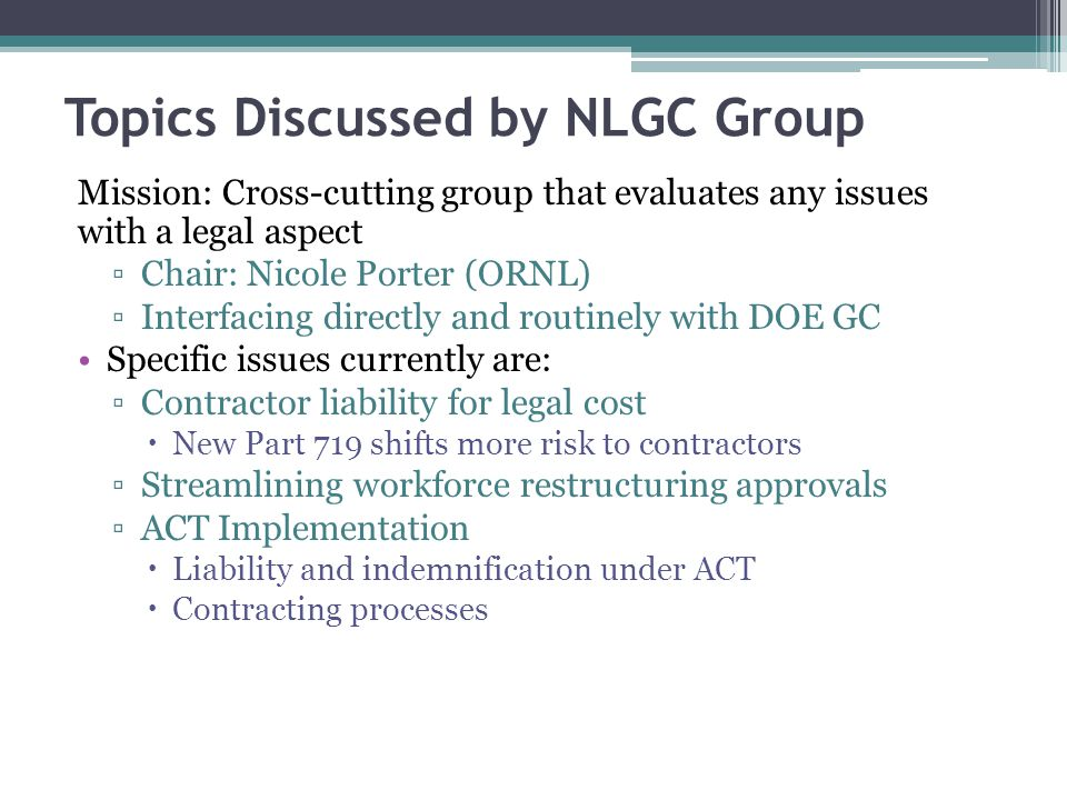 Topics Discussed by NLGC Group