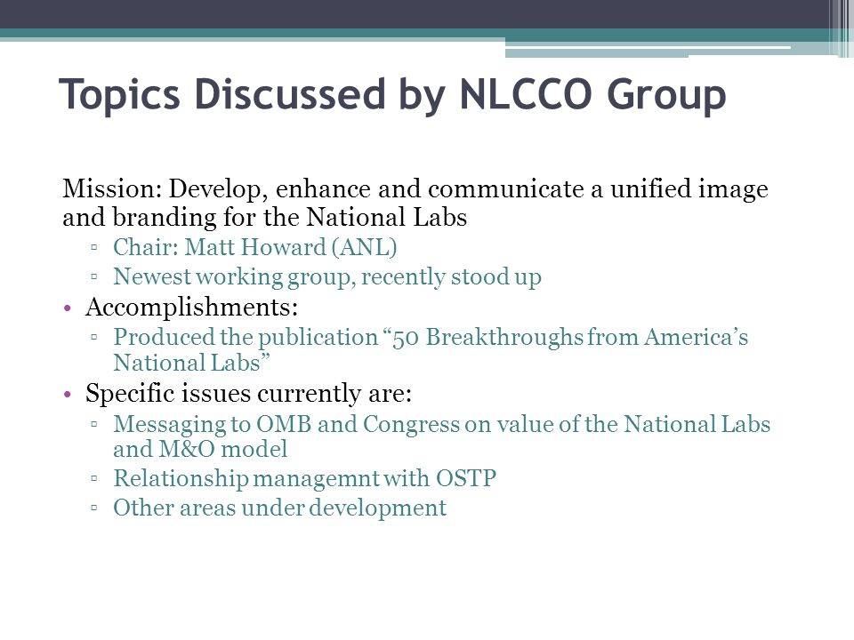 Topics Discussed by NLCCO Group