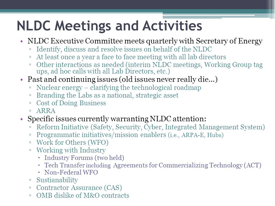 NLDC Meetings and Activities