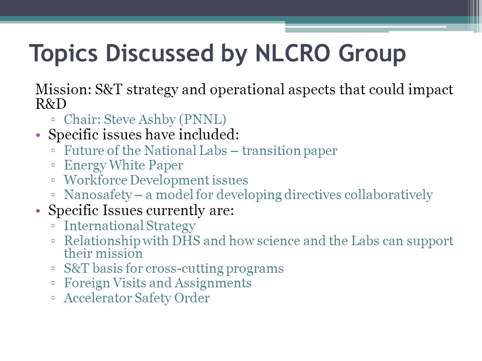Topics Discussed by NLCRO Group
