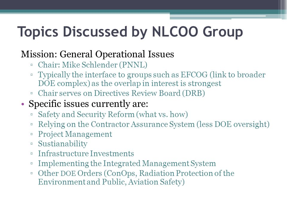 Topics Discussed by NLCOO Group