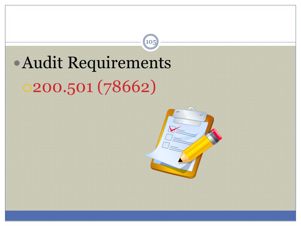 Audit Requirements 200.501 (78662)