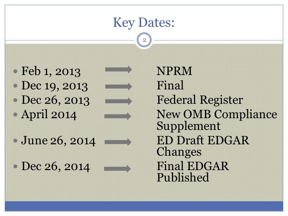 Key Dates: Feb 1, 2013 NPRM Dec 19, 2013 Final