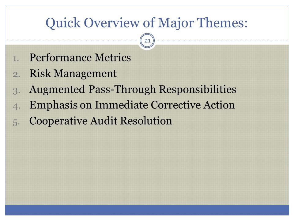 Quick Overview of Major Themes: