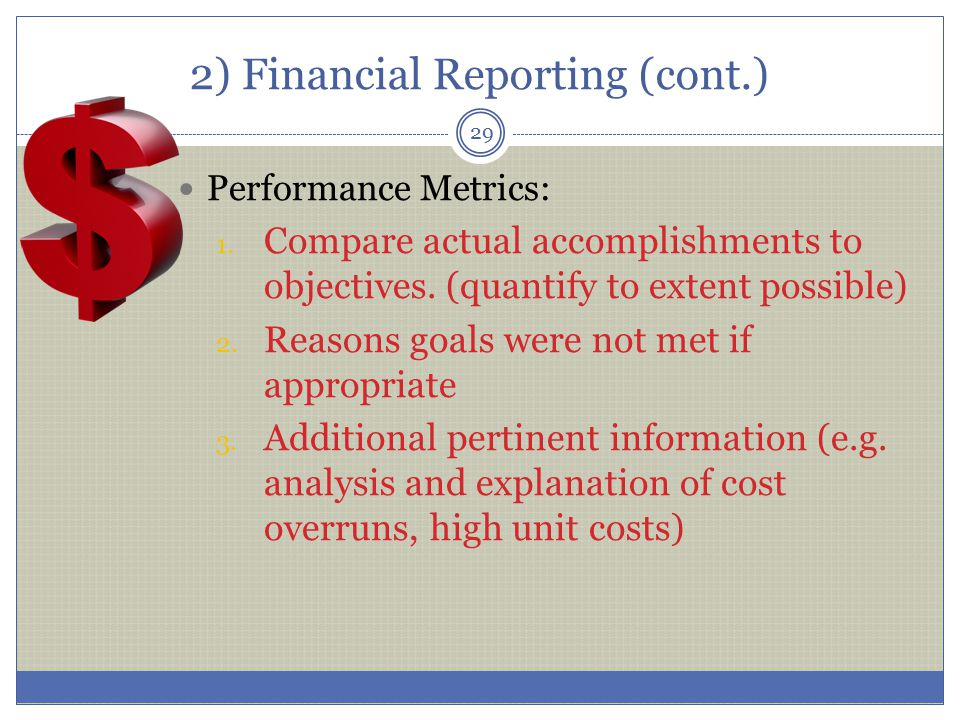2) Financial Reporting (cont.)
