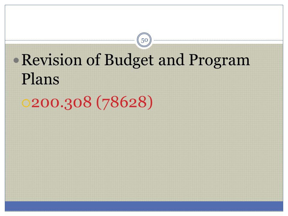 Revision of Budget and Program Plans