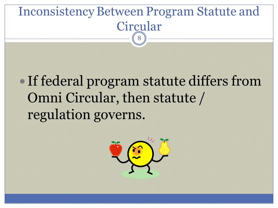 Inconsistency Between Program Statute and Circular