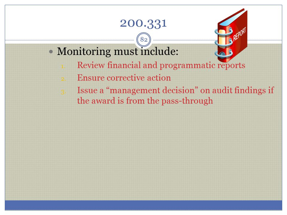200.331 Monitoring must include: