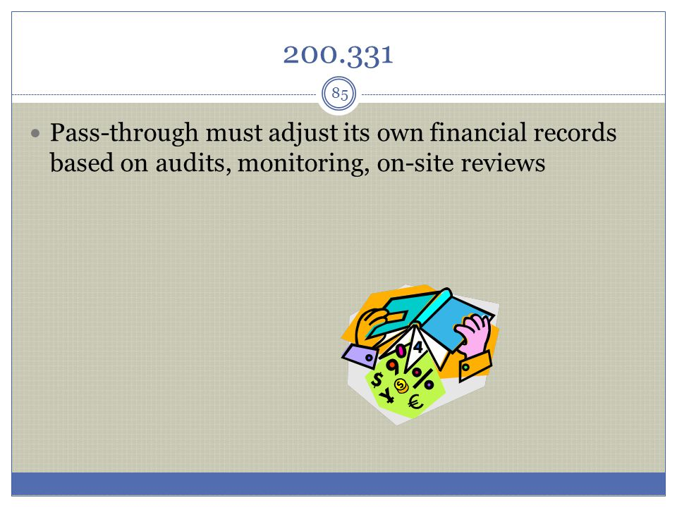 200.331 Pass-through must adjust its own financial records based on audits, monitoring, on-site reviews.