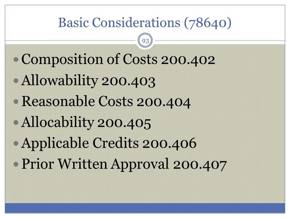 Basic Considerations (78640)