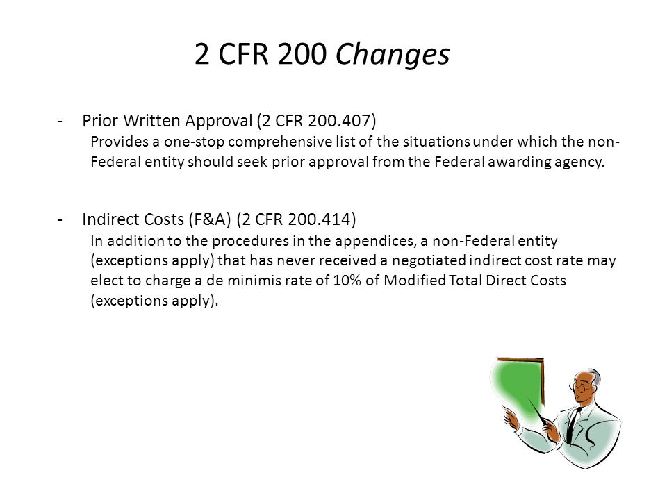 2 CFR 200 Changes Prior Written Approval (2 CFR 200.407)