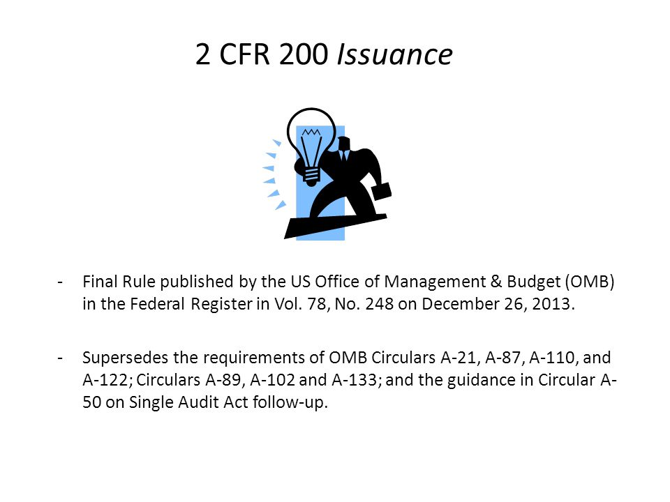 2 CFR 200 Issuance