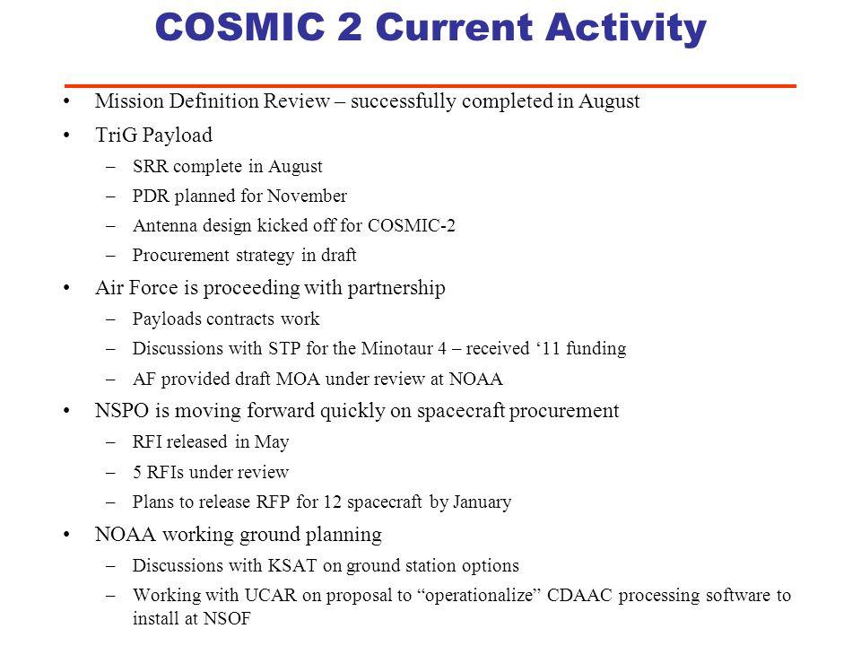 COSMIC 2 Current Activity