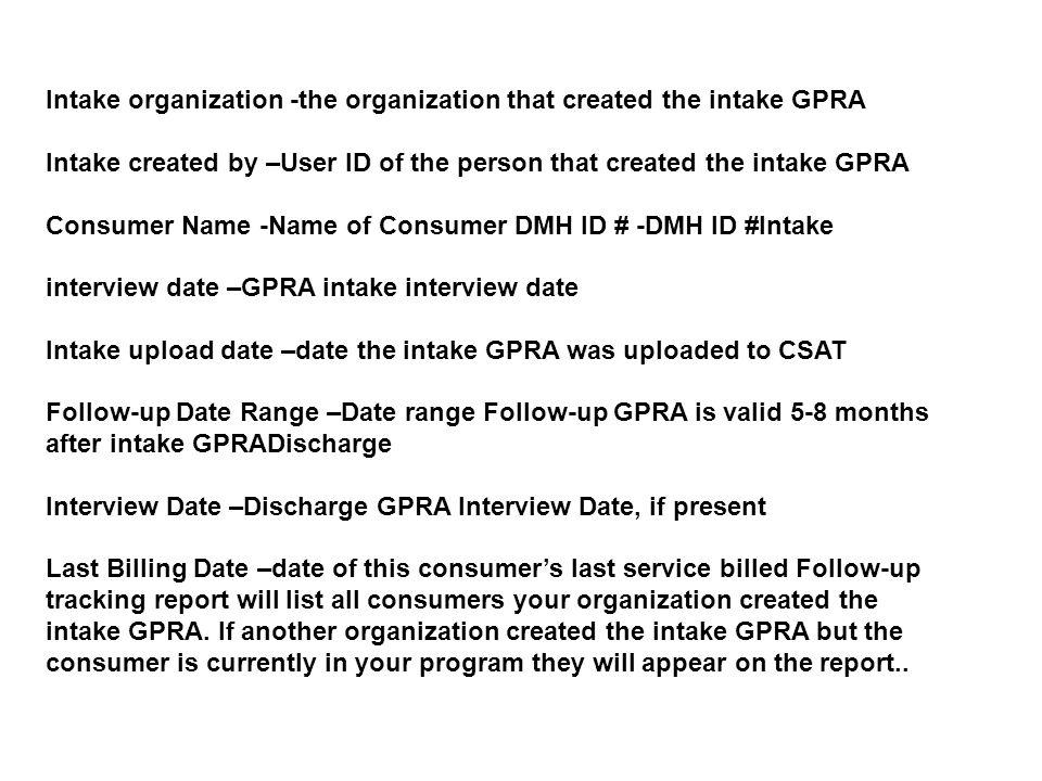 Intake organization -the organization that created the intake GPRA