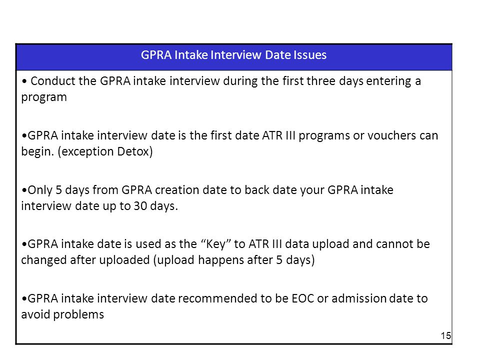 GPRA Intake Interview Date Issues