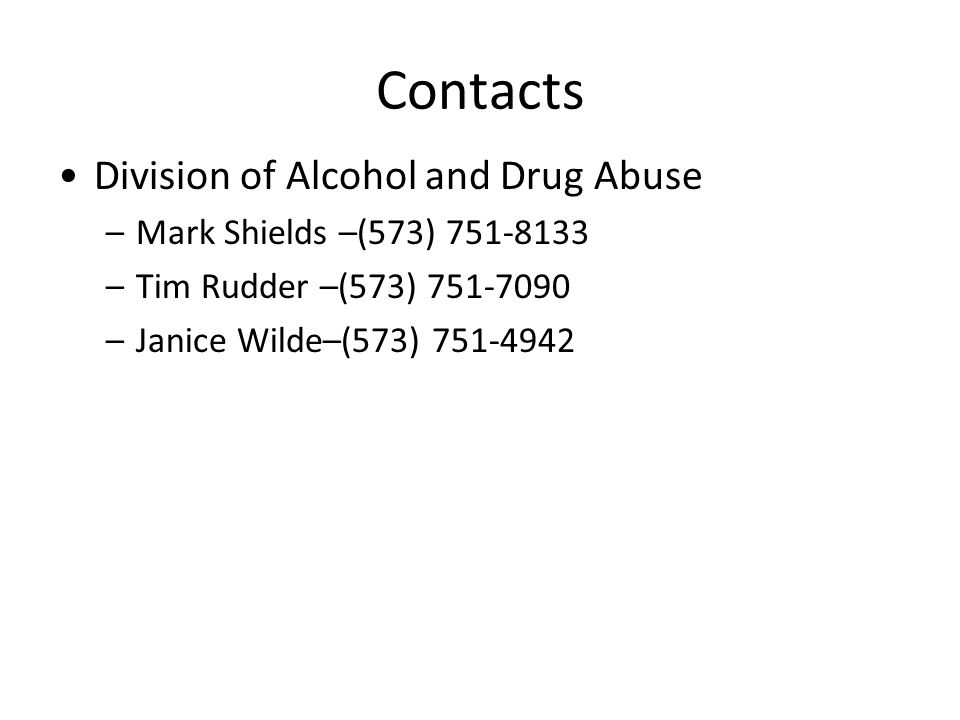 Contacts Division of Alcohol and Drug Abuse