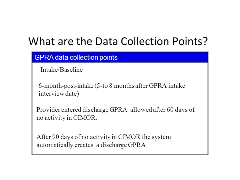 What are the Data Collection Points