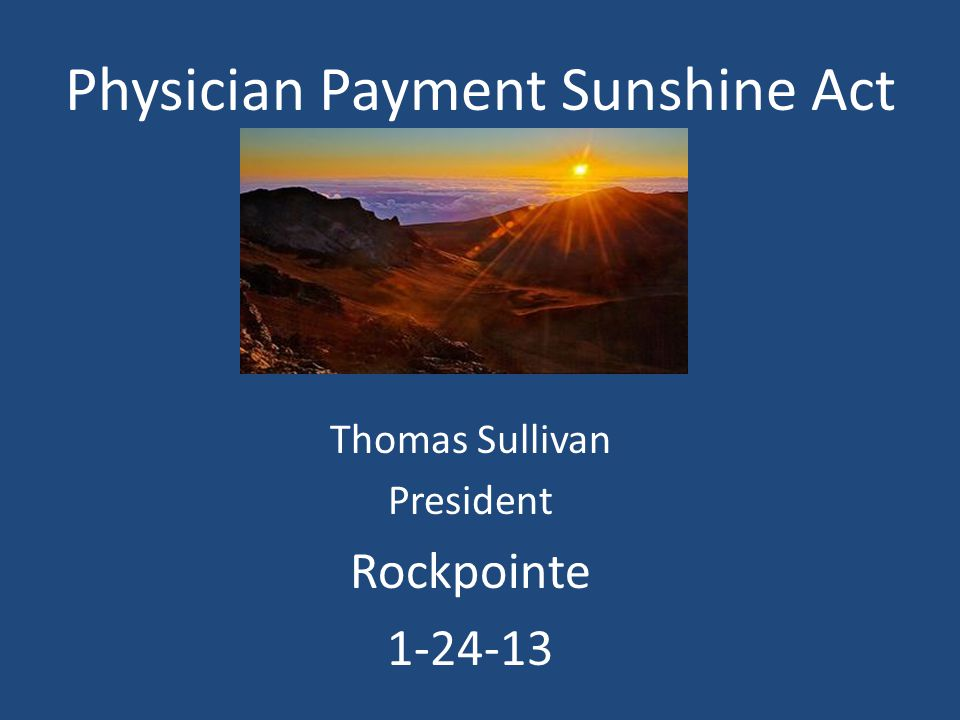 Physician Payment Sunshine Act