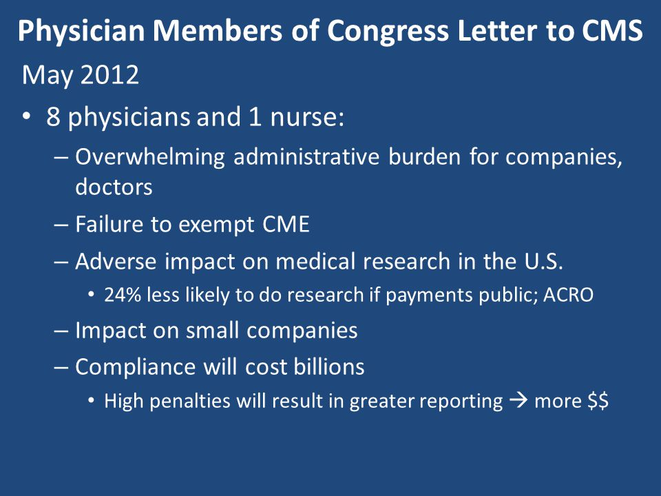 Physician Members of Congress Letter to CMS