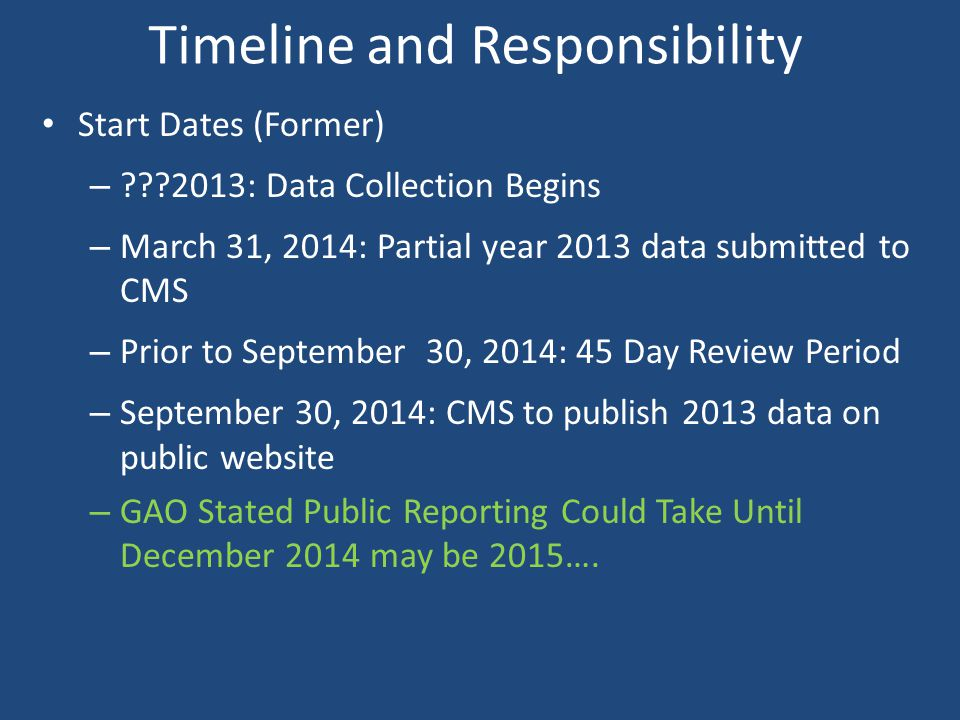 Timeline and Responsibility