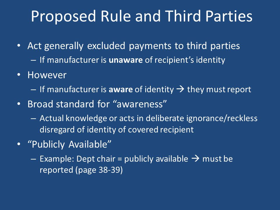 Proposed Rule and Third Parties