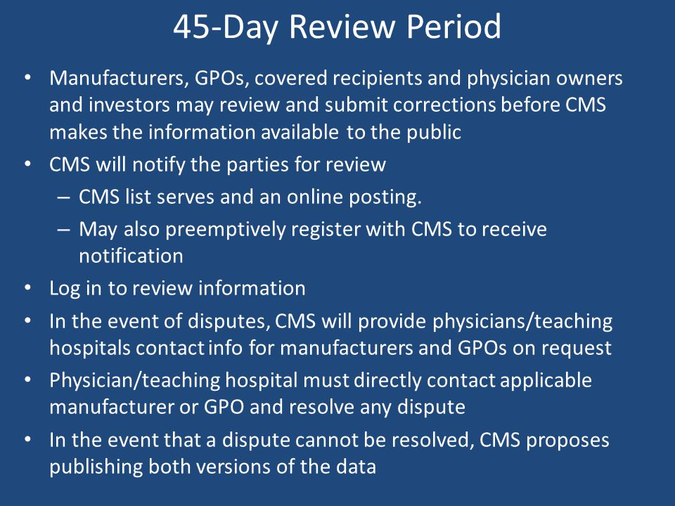 45-Day Review Period