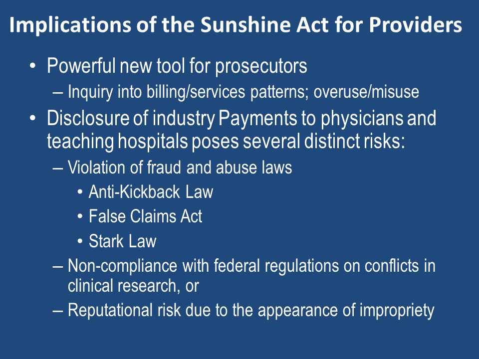 Implications of the Sunshine Act for Providers