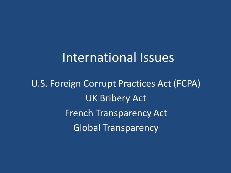 International Issues U.S.