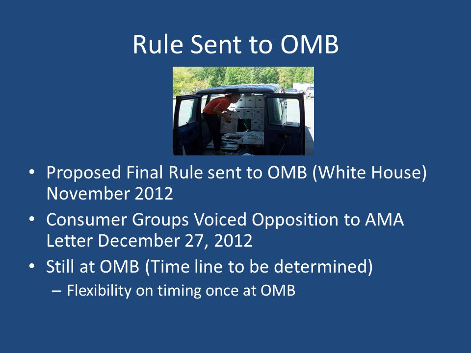Rule Sent to OMB Proposed Final Rule sent to OMB (White House) November 2012. Consumer Groups Voiced Opposition to AMA Letter December 27, 2012.