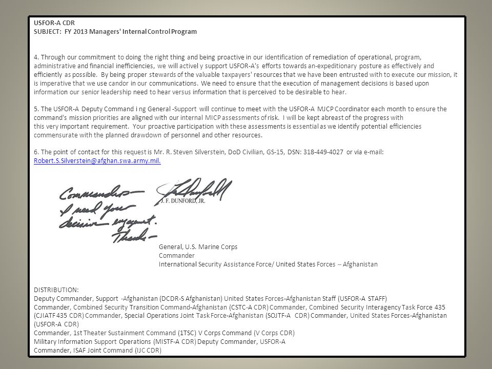 USFOR-A CDR SUBJECT: FY 2013 Managers Internal Control Program.