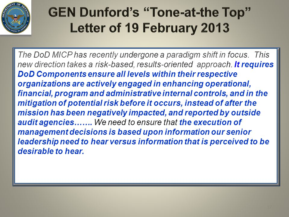 GEN Dunford's Tone-at-the Top Letter of 19 February 2013