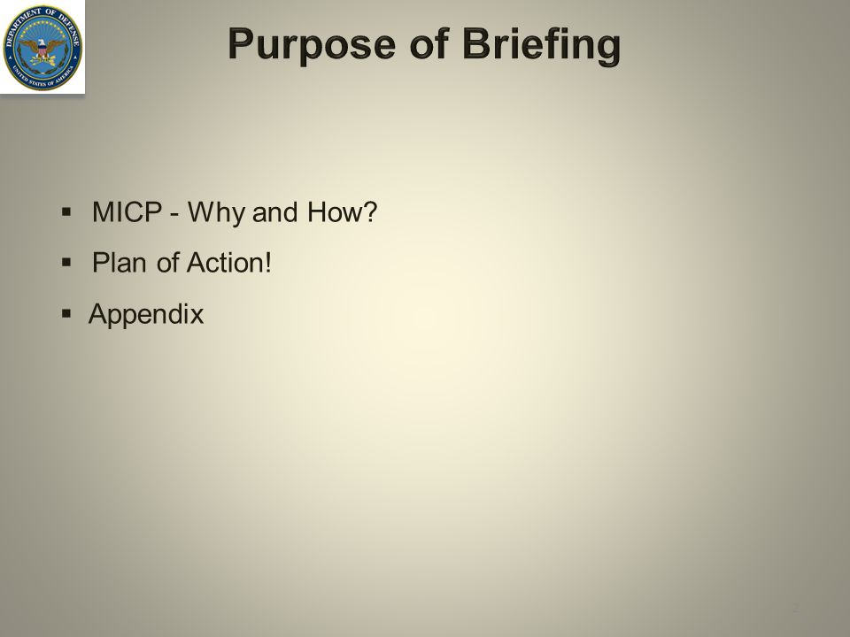 Purpose of Briefing MICP - Why and How Plan of Action! Appendix