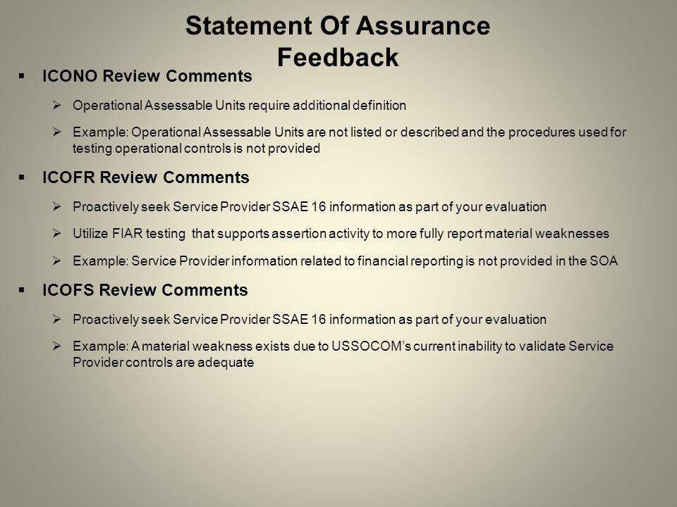 Statement Of Assurance Feedback